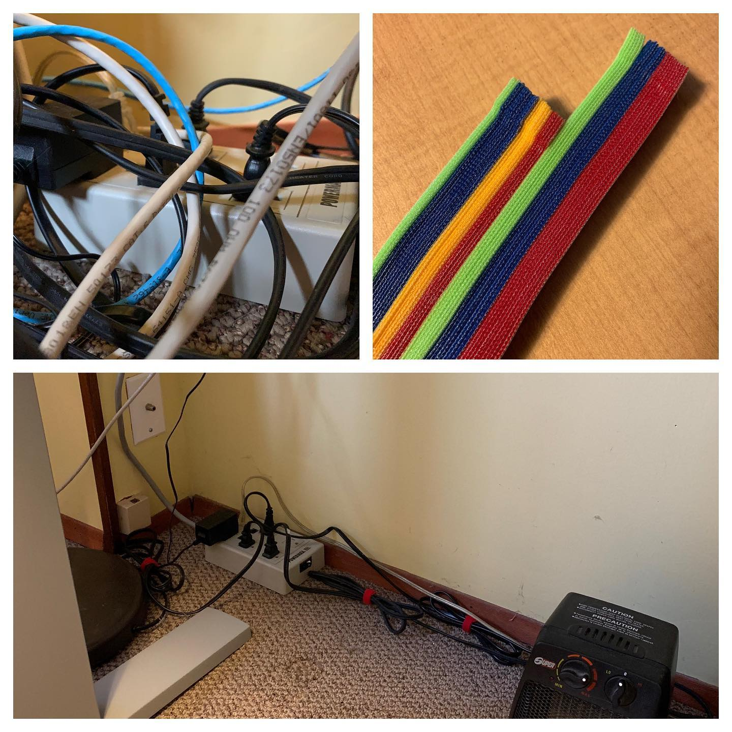 A little before and after shot (thanks for the push @riversmitchell) The tidy cables look so much better and all I needed was a few minutes, some Velcro, and a few screws. #homeoffice #tidycables #velcro