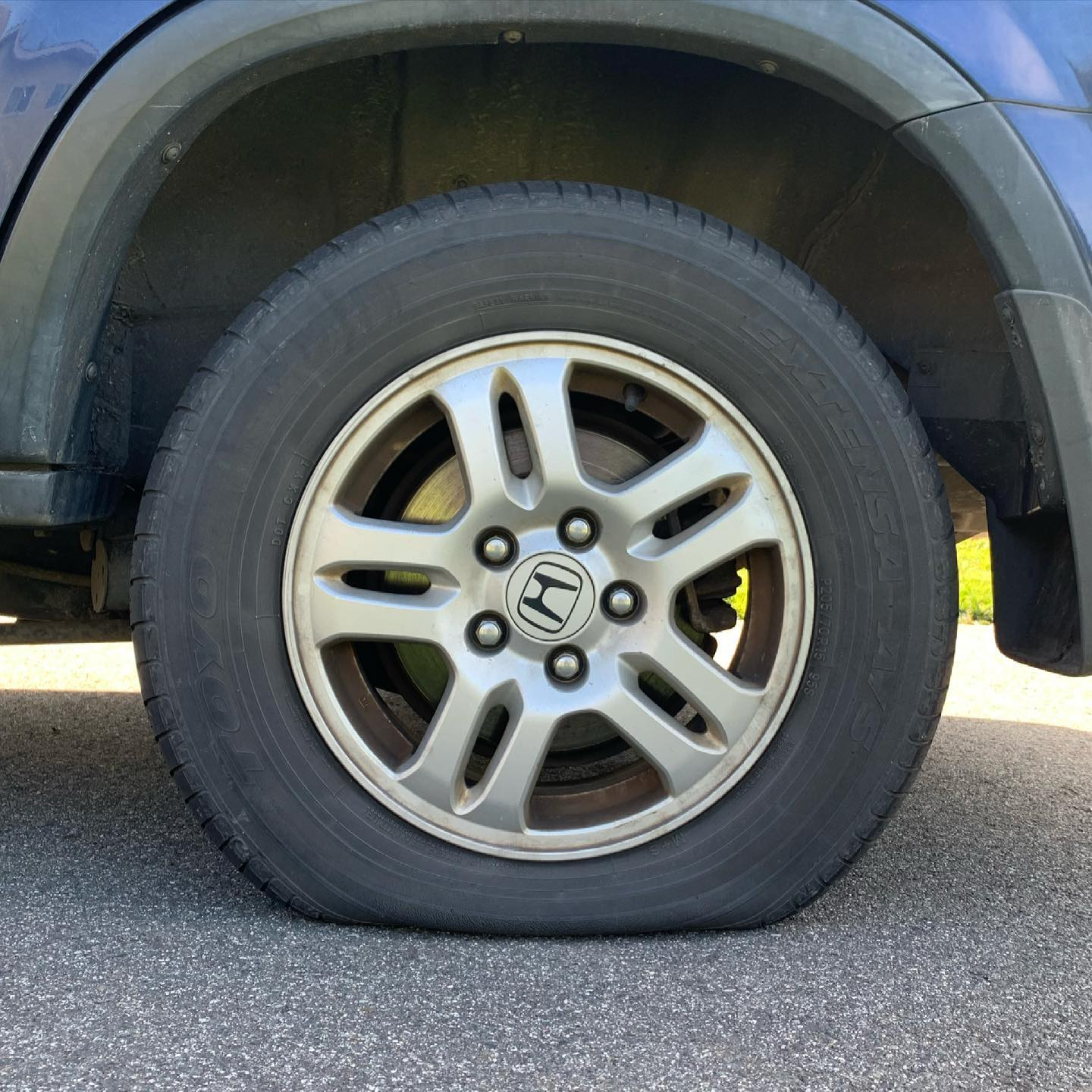 Who needs a round tire any way? It takes real skill to drive on a flat spot. #happysaturday #flattire