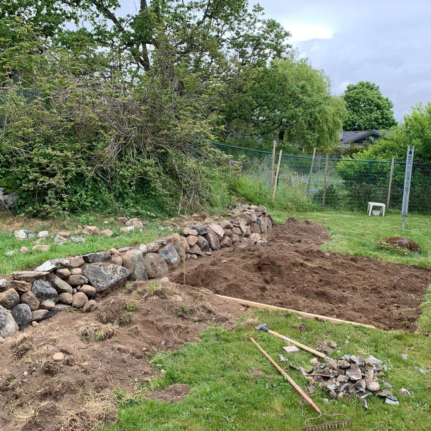 Wall completed last week. Almost have all the area cleared of grass now. Next up is levelling and ordering the wood! #backyardgarden #raisedbeds #damndeer #covidproject