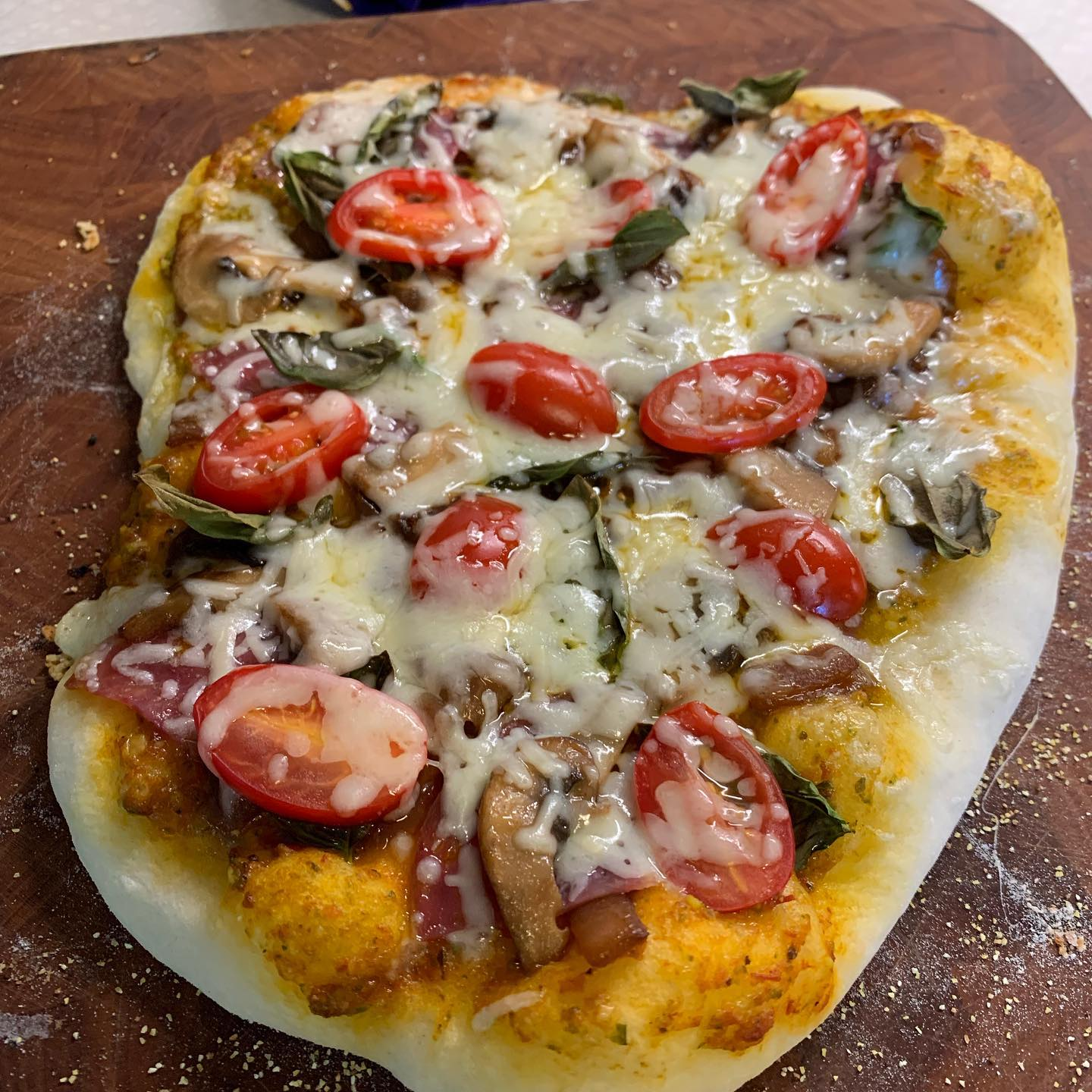 A couple of the pizzas that I made tonight. Rather yummy.